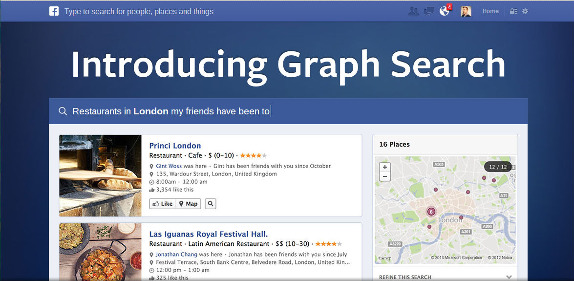 Graph Search provides search of user data (however accurate or inaccurate it may be).